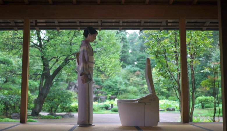 Japanese Toilet and Woman